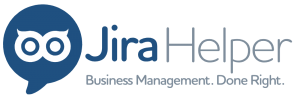 Jira Helper logo with business management done right slogan