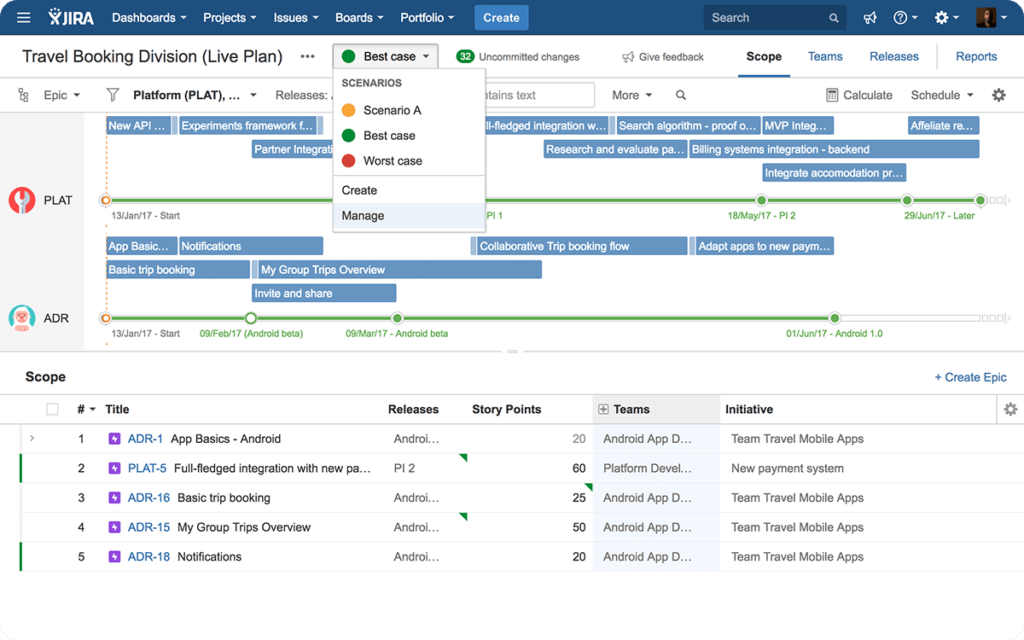 multiple scenario comparison in portfolio for jira
