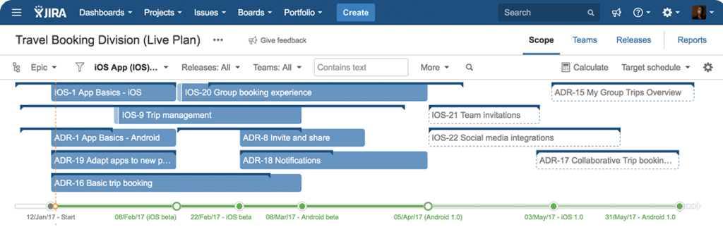target and actual delivery dates in portfolio for jira